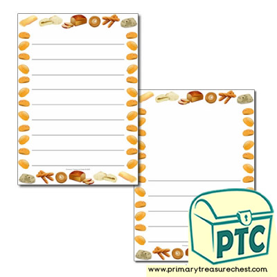 Bread Themed Page Borders/Writing Frames (wide lines)