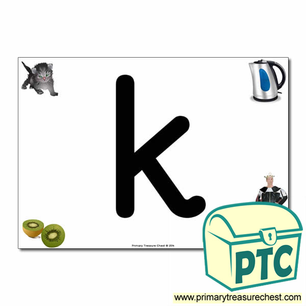 'k' Lowercase  Letter A4 Poster containing high quality realistic images.