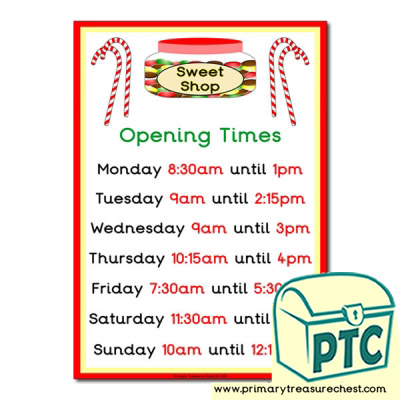 Role Play Sweet Shop Opening Times Poster (Quarter & Half Past Times)
