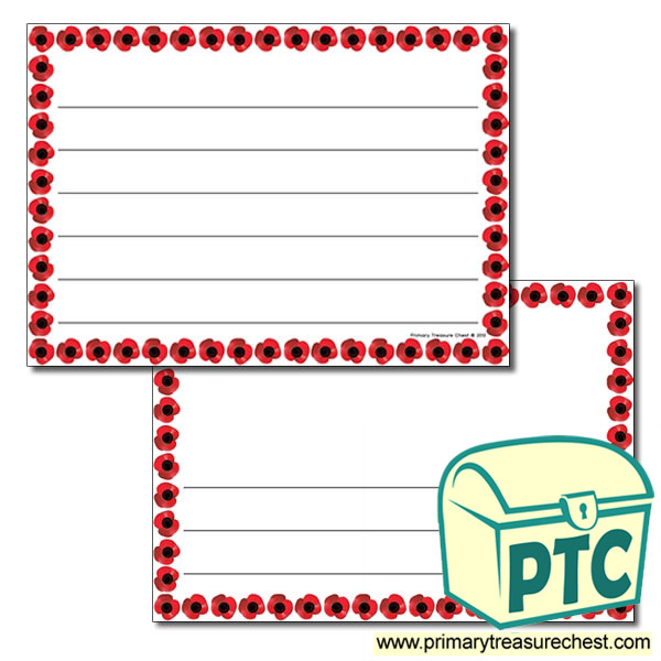 Poppy Themed Landscape Page Border - Wide lines