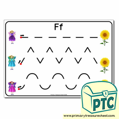 'Ff' Themed Pre-Writing Patterns Activity Sheet