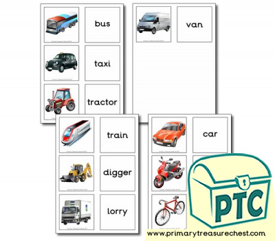 Land Transport Themed Matching Cards