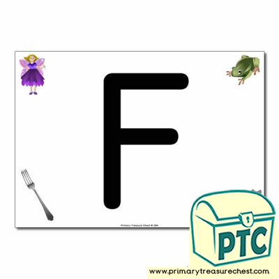 'F' Uppercase Letter A4 poster with high quality realistic images