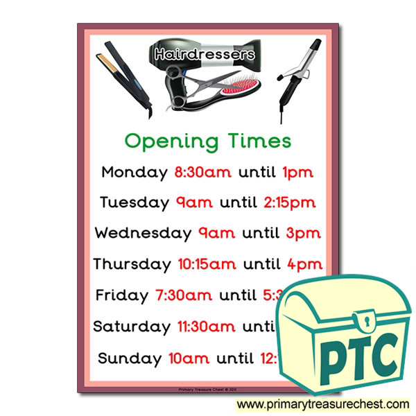 Hairdressers Role Play Opening Times Sign (Quarter & Half Past times)