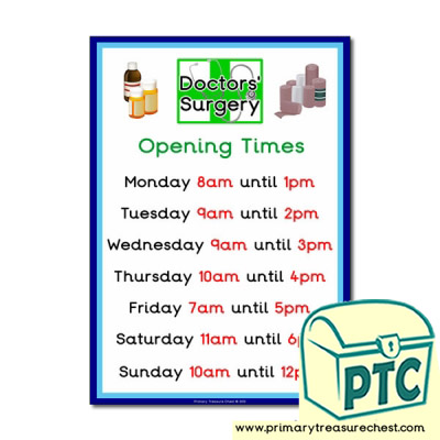 Doctors' Surgery  Role Play Opening Times Sign (O'clock times)
