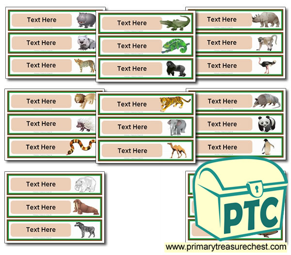 Various Animal Themed Pupil Drawer Labels (Large)