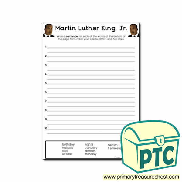 Martin Luther King Jr Sentence Worksheet