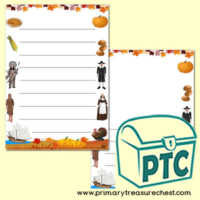 Thanksgiving Page Border/Writing Frame (wide lines)