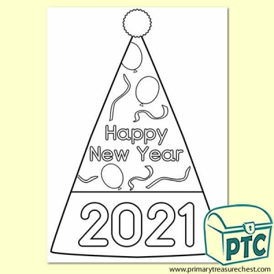 'Happy New Year' Hat Colouring-In Activity 2020