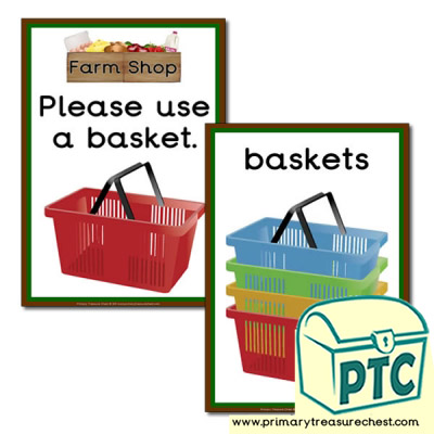 Farm Shop Shopping Basket Signs