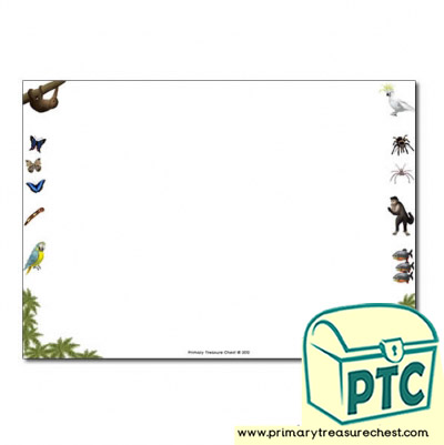 Rainforest II themed Landscape Page Border/ Writing Frames (no lines)