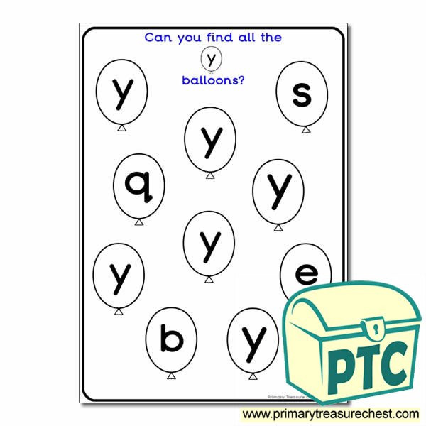 Letter 'y' Balloon Activity Sheet