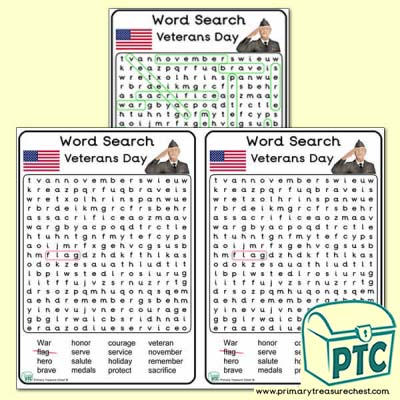 Veterans Day Word Search Worksheet A5