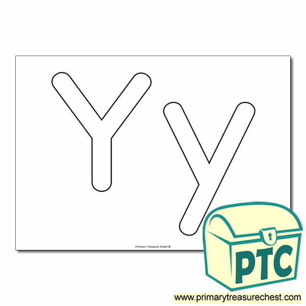 'Yy' Upper and Lowercase Bubble Letters A4 Poster - No Images.
