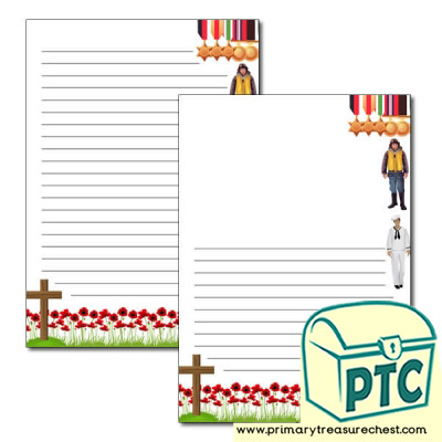 Remembrance Day Page Border /Writing Frame (narrow lines)