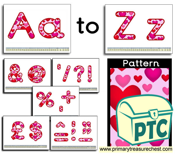 Hearts themed Display Lettering