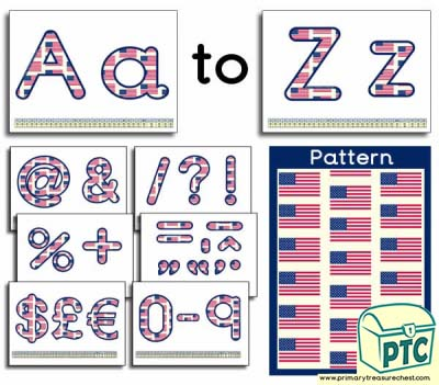 American flag themed Display Lettering