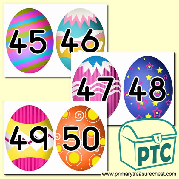 Easter Themed Number Cards 26 to 50