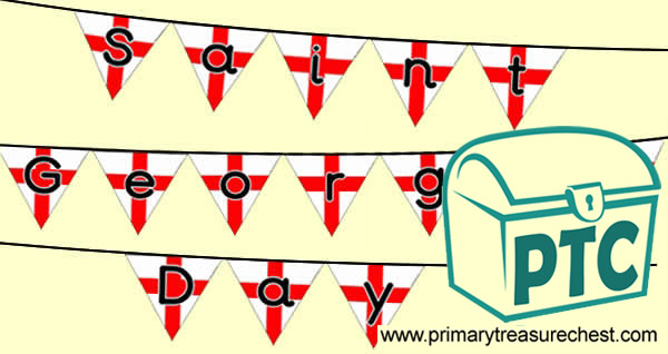 Saint George's Day themed bunting, saying 'Saint George's Day'.