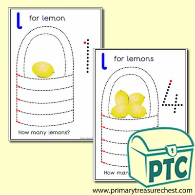 Lemon Themed Numeracy and Pencil Control - Letter 'l'