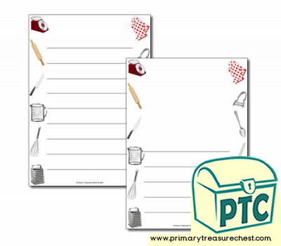 Cooking Equipment Themed Page Borders/Writing Frames (wide lines)