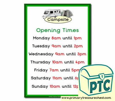 Campsite Role Play Opening Times (O'clock Times)
