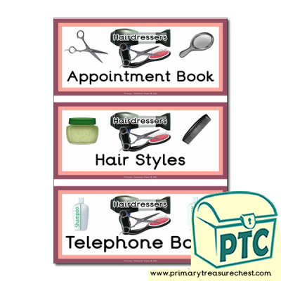 Role Play Hairdressers Themed Book labels