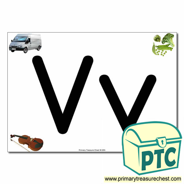 'Vv' Upper and Lowercase Letters A4 posterposter with realistic images