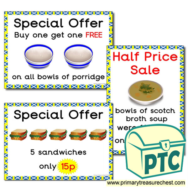 Scottish Cafe Role Play Special Offers (1 to 20p)