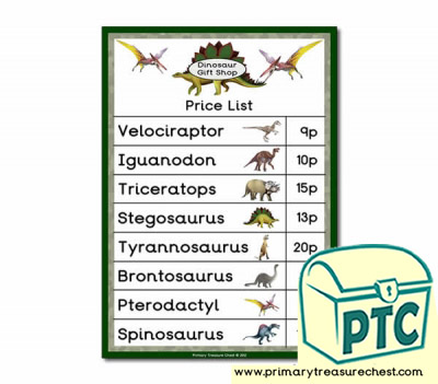 Role Play Dinosaur Gift Shop Price List