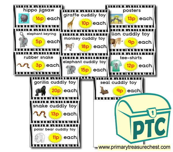 Zoo Gift Shop Flashcards - Prices (1-20p)