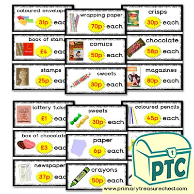 Role Play Newsagents Prices Flashcards