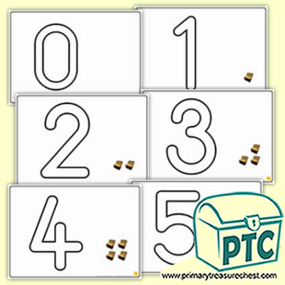 Treasure Chest Number Shapes 0 to 5 Playdough Mats