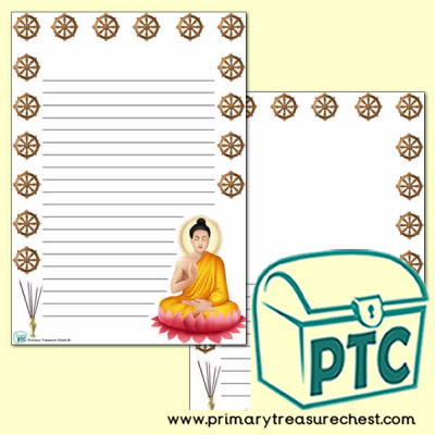 Buddhism Page Border/Writing Frame (narrow lines)