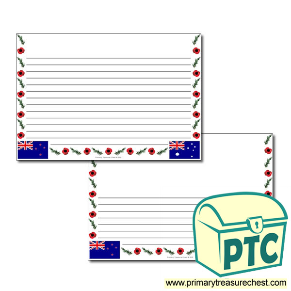 Anzac Day Themed Landscape Page Border - Narrow lines