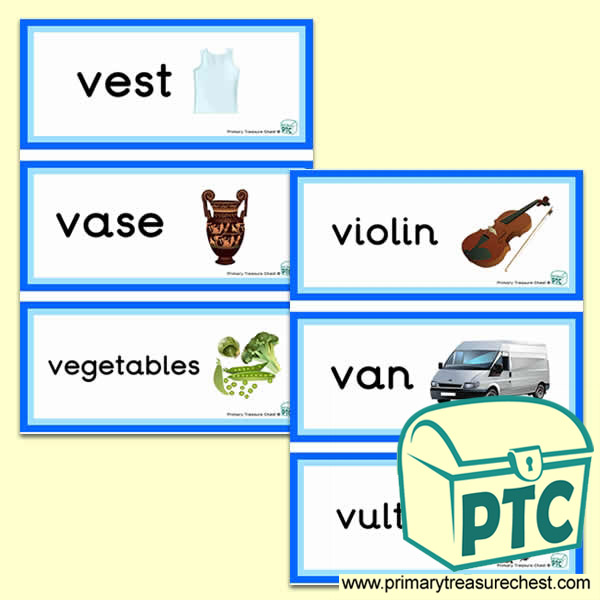 Letter V Themed Flashcards Primary Treasure Chest