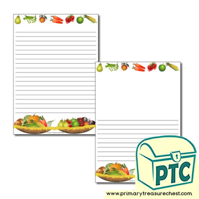 Harvest Thanksgiving Page Border/Writing Frame (narrow lines)