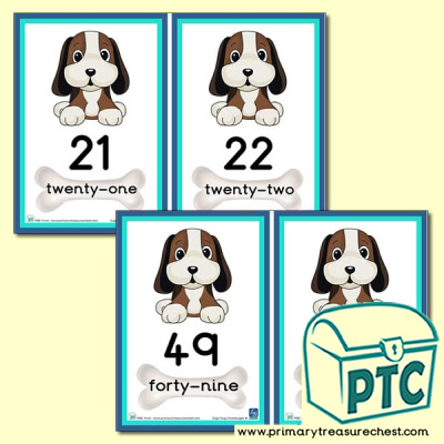 Digit Dog Themed Number Line 21 to 50