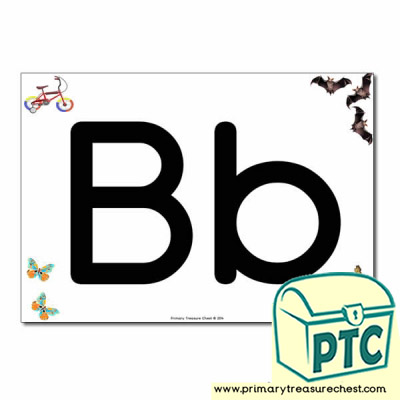 'Bb' Upper and Lowercase Letters A4 posterposter with realistic images
