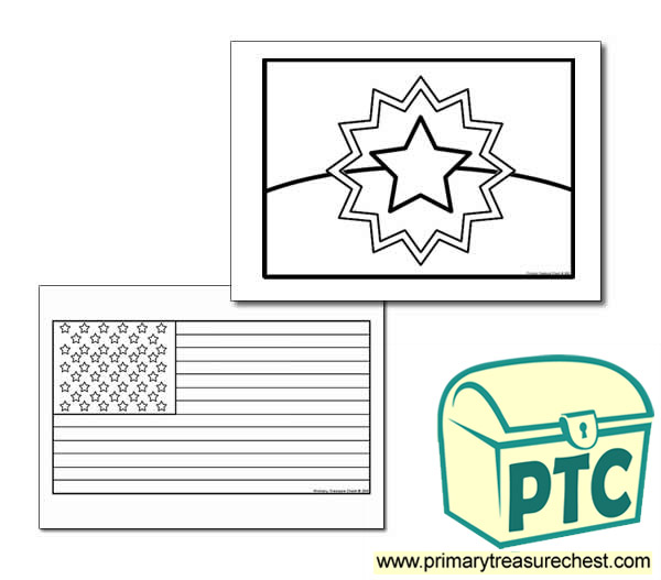 Juneteenth Flag Coloring Sheet Primary Treasure Chest