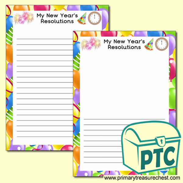 'My New Year's Resolutions' Writing Frame (Narrow Lines)