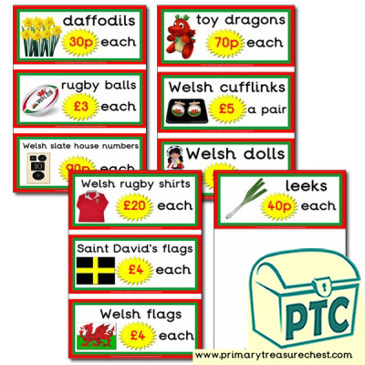 Welsh Gift Shop Prices Flashcards (21p - £99)