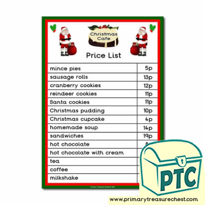 Christmas Cafe Role Play Price List (1-20p)