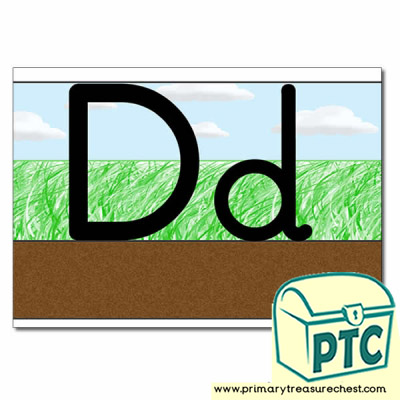 Letter 'Dd' Ground-Grass-Sky Letter Formation Sheet