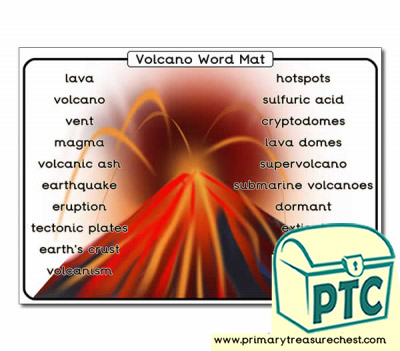 Volcano Themed Word Mat