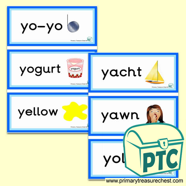 Letter 'y'  Themed Flashcards