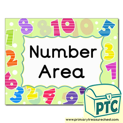 Number area Classroom sign