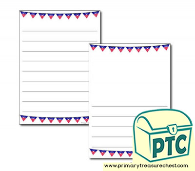 Juneteenth Bunting Themed Page Border/Writing Frame (wide lines)