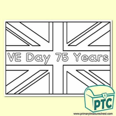 British Flag VE Day Colouring sheet