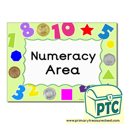 Numeracy area Classroom sign